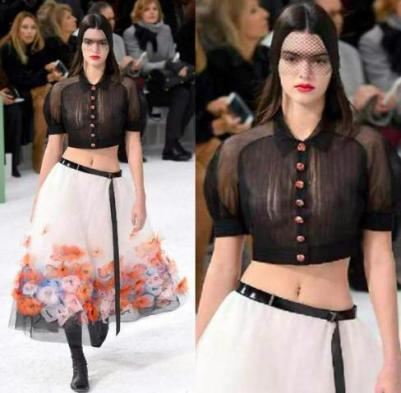 Kendall-Jenner-models-sheer-top-at-Chanels-Paris-Fashion-Week-show